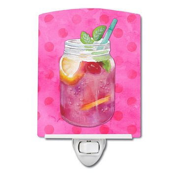 Mason Jar Cocktail Pink Polkadot Ceramic Night Light BB8254CNL