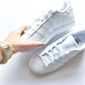 DCCKIJG Adidas' Fashion Shell-toe Flats Sneakers Sport Shoes Pure white