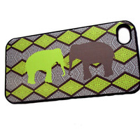 Neon iPhone 4 / 4S Unique Phone Cases by Sassy Cases Lime and Gray Elephants