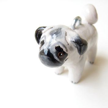 Custom pet ornament - pug - cat dog bird hamster horse - birthday gift - animal lover - handmade sculpture
