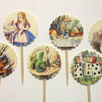 Alice in Wonderland Cupcake Picks - Cupcake Toppers -  Mad Hatter Tea Party - Set of 12