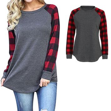 Women's Long Sleeve Blouse for Women Long Sleeve Plaid Color Block Tunic Tops for Women Camping shirt outdoor