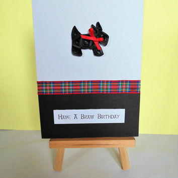 Scotty dog card, birthday card, dog card, scotty dog, greeting card, handmade card, scottie dog card, Scottish card, dog lover card,