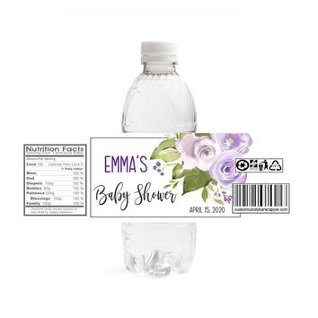 Purple Baby Shower Water Bottle Labels