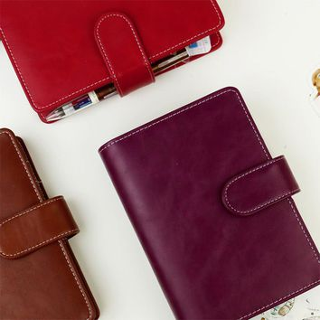 2017 Vintage Retro Planner A5 A6 Pu Leather personal diary Notebook with 25mm Dia Ring office & school supplies