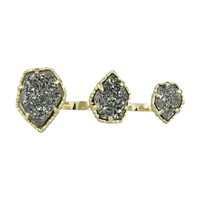 Naomi Double Ring in Gunmetal Drusy - Kendra Scott Jewelry