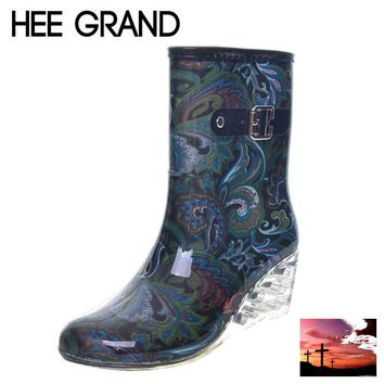 HEE GRAND Women Rubber Boots Transparent Wedges Heel Woman Rainboots Fashion Rainning Shoes For Ladies XWX4371