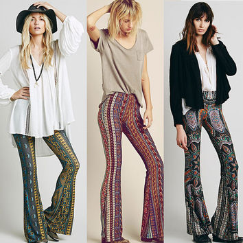 Women Summer Pants Vintage Casual Bell Bottom Pants Paisley Print Lounge Stretch Hippie Boho Trousers 2016 Hot Selling