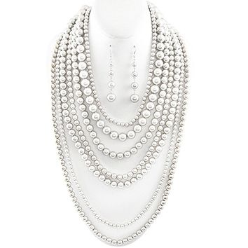 Statement Beaded Layered Strand Metallic Simulated-Pearl Bead Long Necklace Set Gift Bijoux