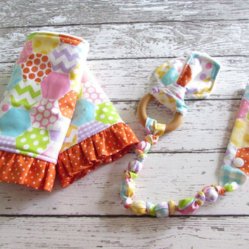 KP Cheaters Quilt Snap On Teether. Bunny Ear Teether. Organic Wooden Teether - Ready To Ship