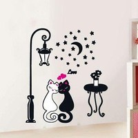 Little Cat Lovers & Street Lamp Removable Wall Decals PVC 32×60CM free shipping
