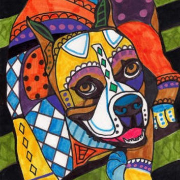 Boxer Dog Art PRINT Poster of Painting Modern by HeatherGallerArt