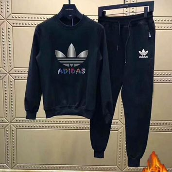 Adidas Casual Thickening Print Top Sweater Pants Trousers Set Two-piece Sportswear I-PSXY