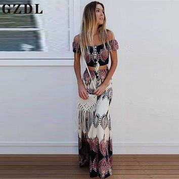 GZDL Summer Women Boho Beach Party Chiffon Casual Set Slash Neck Short Sleeve Geometric Crop Top High Waist Long Skirt CL3677