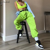 Macheda Women High Waist Solid Pants Fashion Pencil Pants Green Streetwear Loose Jogger Ladies Casual Cargo Pants 2019 New
