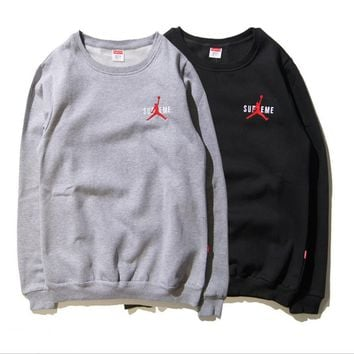 Supreme round collar fleece cotton autumn and winter warm sweater influx of men and wo