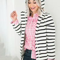 Coast Print Waterproof Hooded Jacket - Black Stripe