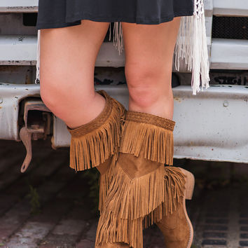 Giddy In My Vintage Boho Fringe Boots-Tan