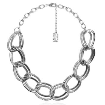 EMMA DOUBLE LINK STATEMENT NECKLACE IN SILVER