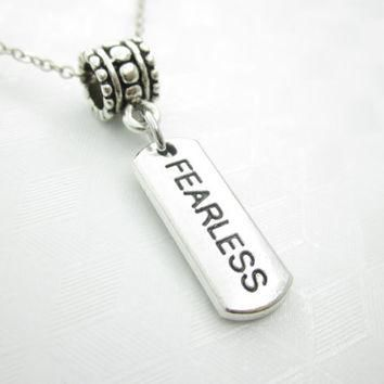 Fearless Necklace, Word Pendant, Stamped Charm Necklace, Engraved, Antique Silver, Aff