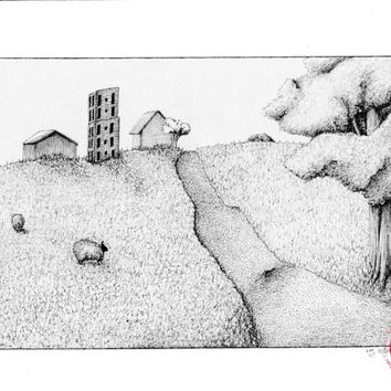"Original art, landscape, free shipping, pen and ink art, pen drawing, storybook illustration, black and white art  9x12 ""Quaint"""