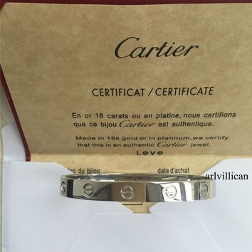 Authentic CARTIER Love 18k White Gold Size 16 Bangle Bracelet