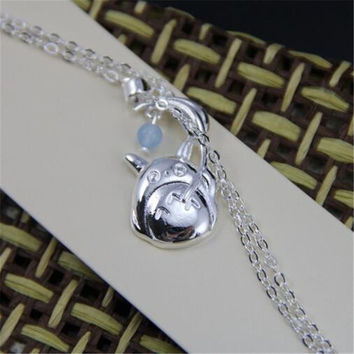 Totoro - Cute and Cuddly Silver Pendant Necklace