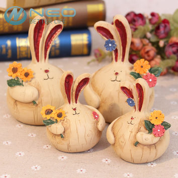 Bnny Easter Animal Sculpture Resin Crafts Home Decor Ornaments