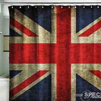 "Shower Curtain British flag UK banner Great Britain England English London grunge 71x71""(180x180cm)"