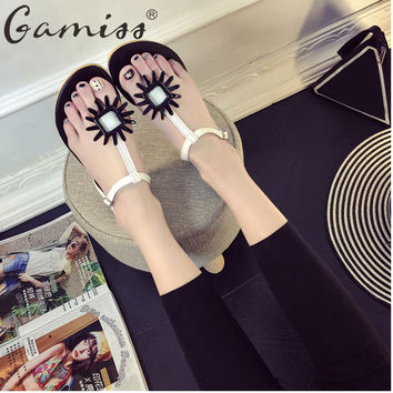Gamiss Bohemia Flowers Woman Beach Flip Flops Summer Sandals Thongs Slippers Shoes Sweet Style Daisy Flower Beach Flat Sandals