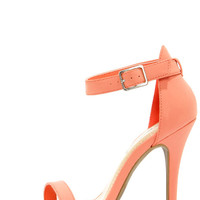 Anne Michelle Enzo 01 Melon Coral Single Strap Heels