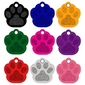 20pcs/lot Paw Print Aluminum Pet ID Tag Custom Engraved Dog Cat Name Phone Number Tag Personalized