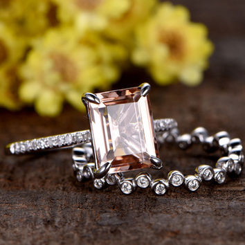 1.2 Carat Emerald Cut Morganite Wedding Set 14k White Gold Diamond Bridal Ring Unique Full Eternity Stacking Matching Band