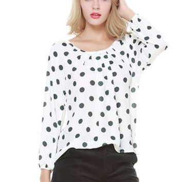 Polka Dots  Print Loose Chiffon Blouse Shirt Tops