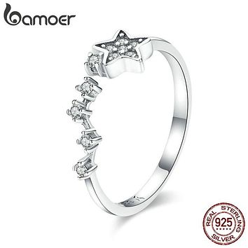 BAMOER Real 925 Sterling Silver Sparkling Secret Of Stars Clear CZ Finger Rings for Women Wedding Engagement Jewelry anel SCR440