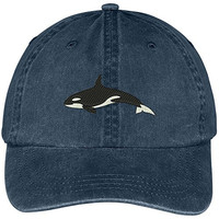 Orca Killer Whale Embroidered Pigment Dyed 100% Cotton Cap - Navy