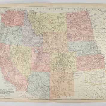 Vintage Western US Map California, Washington Map Oregon Southwest State Map, Colorado Dakota Map West United States Map 1884 A C Black Map