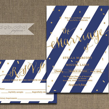 Navy and Gold Wedding Invitation & RSVP 2 Piece Suite Gold Glitter Navy and White Stripes Modern Script Shabby Chic DiY or Printed- Stella