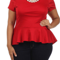 PEARL NECKLACE PEPLUM TOP - RED - PLUS SIZE - 1X - 2X - 3X