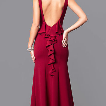 Merlot Red Long Prom Dress with Open Back and Ruffle