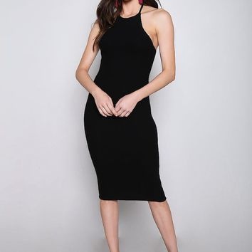 Halter Knit Midi Dress