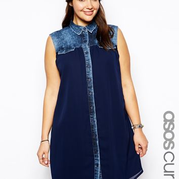 ASOS CURVE Exclusive Denim Swing Dress With Chiffon Panel