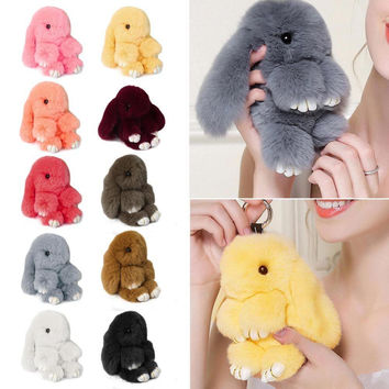 2016 Rex Rabbit Fur Cute Bunny Pom Ball Doll Toy Keychain Charm Handbag Pendant Decor 14cm