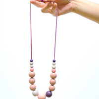 Pink and light purple extra large necklace, natural wooden beads, pastel ombre necklace, wood hand painted pastel necklace