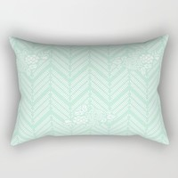 Pastel Mint Chevron Floral Rectangular Pillow by Beautiful Homes | Society6