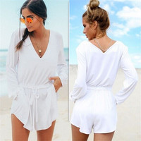 White V-neck Long Sleeve Waistband Hot Sale Romper [6315481217]