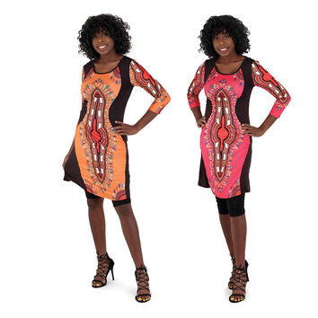 Traditional Print Fitted Babydoll Dress