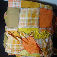 Vintage Patchwork and Plaid Ruffled Long Curtains - 1 Set of Country Curtains - 2 Panels and 2 Tie Backs - Orange, Yellow, Brown, and White