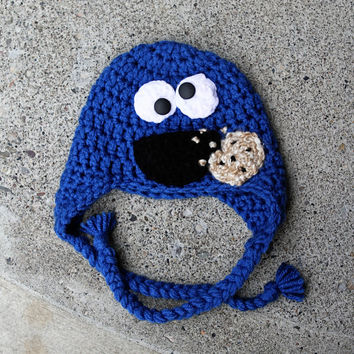 Ready to Ship Child Size Cookie Monster Hat for by mymadymichelle