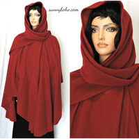 Irish hooded walking cape ruana cranberry red cloak cashmere wool Celtic cape Molina Ireland long hooded wrap coat SunnyBohoVintage